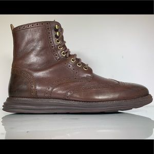 Cole Haan LunarGrand Chocolate Wingtip Boots